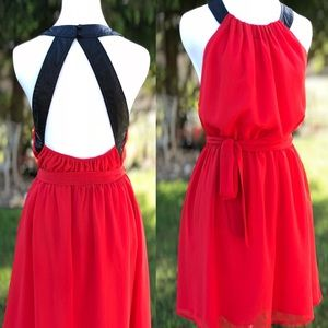 🌹Ark & Co. Chiffon Fit to Flare Halter Mini Dress